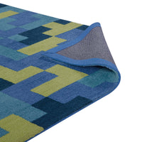 TERRIS INTERLOCKING BLOCK MOSAIC 5X8 AREA RUG IN MULTICOLORED BLUE AND LIGHT OLIVE GREEN