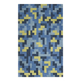 TERRIS INTERLOCKING BLOCK MOSAIC 8X10 AREA RUG IN MULTICOLORED BLUE AND LIGHT OLIVE GREEN