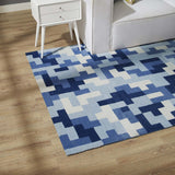 TERRIS INTERLOCKING BLOCK MOSAIC 5X8 AREA RUG IN MULTICOLORED LIGHT AND DARK BLUE