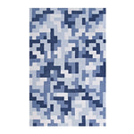 TERRIS INTERLOCKING BLOCK MOSAIC 8X10 AREA RUG IN MULTICOLORED LIGHT AND DARK BLUE