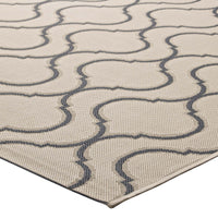 KORO WAVE ABSTRACT TRELLIS 5X8 INDOOR AND OUTDOOR AREA RUG IN BEIGE AND GRAY