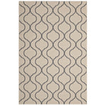 KORO WAVE ABSTRACT TRELLIS 8X10 INDOOR AND OUTDOOR AREA RUG IN BEIGE AND GRAY