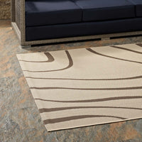 TIMELESS ABSTRACT 5X8 INDOOR AND OUTDOOR AREA RUG IN LIGHT AND DARK BEIGE