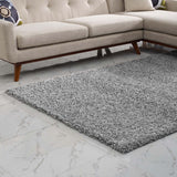 FLATTE SOLID 8X10 SHAG AREA RUG IN SILVER GRAY