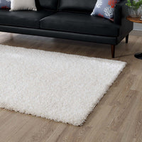 FLATTE SOLID 5X8 SHAG AREA RUG IN IVORY WHITE