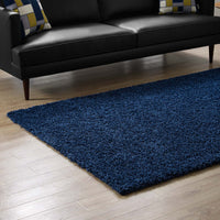 FLATTE SOLID 8X10 SHAG AREA RUG IN NAVY