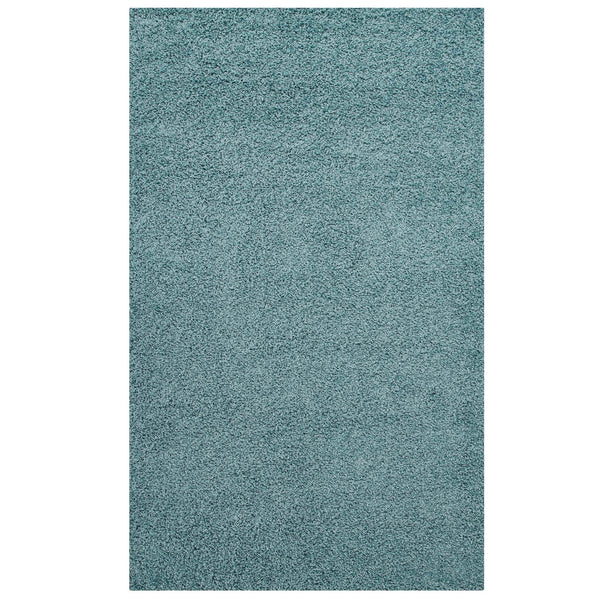 FLATTE SOLID 5X8 SHAG AREA RUG IN AQUA BLUE AND IVORY