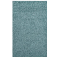 FLATTE SOLID 8X10 SHAG AREA RUG IN AQUA BLUE AND IVORY
