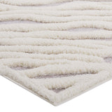 SKIG ABSTRACT WAVY STRIPED 5X8 SHAG AREA RUG IN IVORY AND LIGHT GRAY
