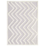 TRIAD ABSTRACT CHEVRON 5X8 SHAG AREA RUG IN IVORY AND LIGHT GRAY