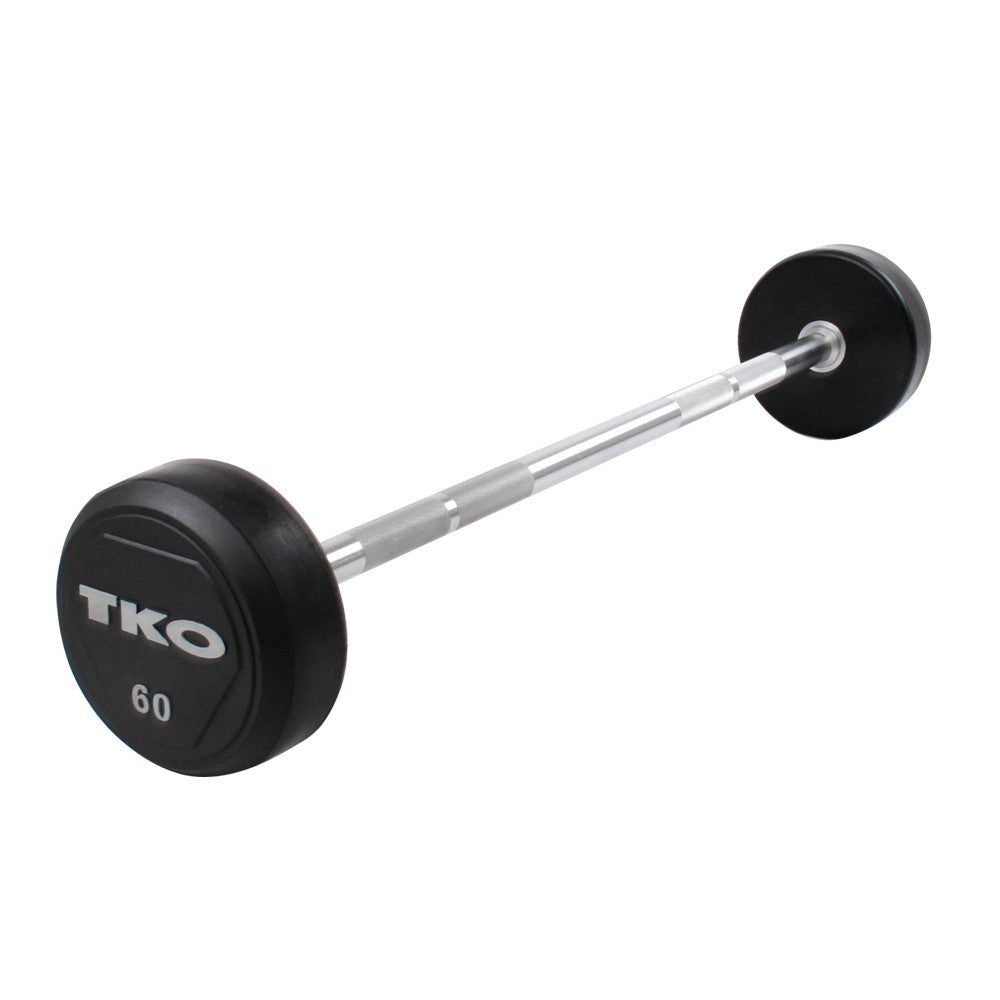 TKO Rubber Fixed Solid Steel Straight Barbell  12.5kg (K805RR-12.5)