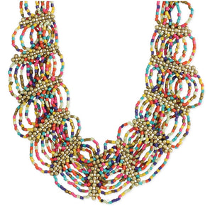 Glass Beaded Bib Necklace