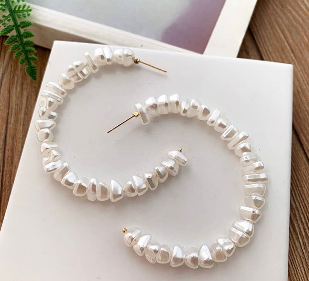 Pearl Beaded Hoop Earrings