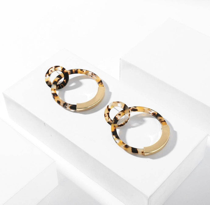Leopard Marbled Resin Hoop Earrings
