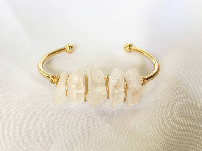 Raw Crystal Quartz Cuff