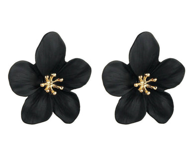 Black & Gold Flower Drop Earrings