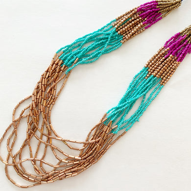 Turquoise, Purple, and Bronze Beaded Necklace