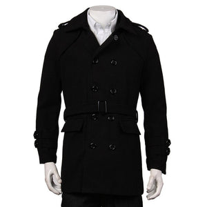 Black Grey Faux Wool Trench Men Cardigan Business Clothes