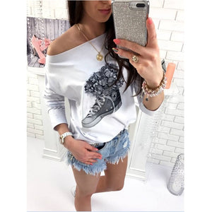 Off Shoulder T Shirt Loose Long Sleeve