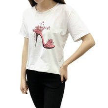 Load image into Gallery viewer, Printed High-heeled Shoes T-Shirts for Women