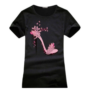 Printed High-heeled Shoes T-Shirts for Women