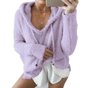 Women's Casual V Neck Long Sleeve Loose Fit Sweater