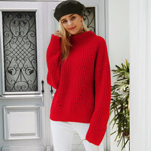 Load image into Gallery viewer, Simplee Turtleneck knitted sweater Women red casual winter pullover