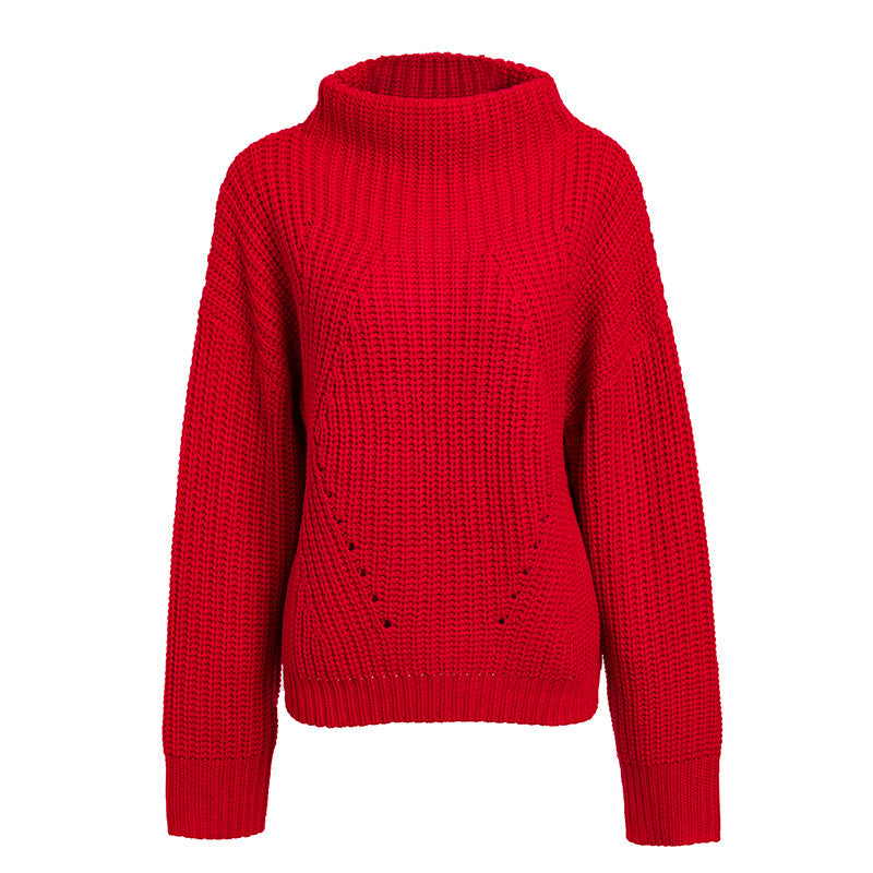 Simplee Turtleneck knitted sweater Women red casual winter pullover