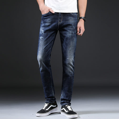 Dark Blue Slim Elastic Denim