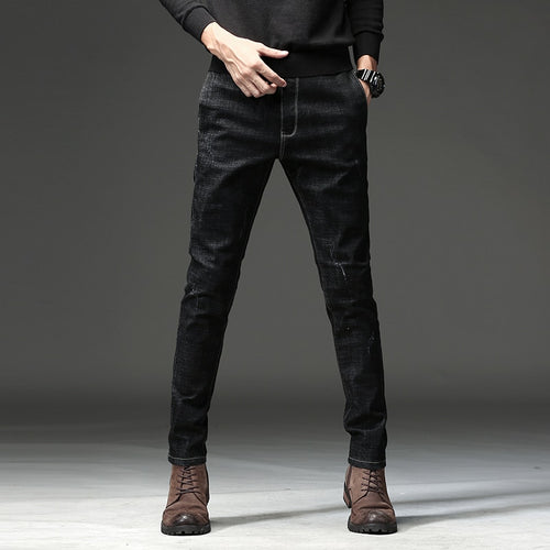 Men's Black Slim Casual Jeans