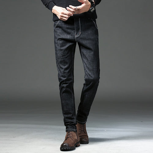Men's Black Slim Elastic Pants