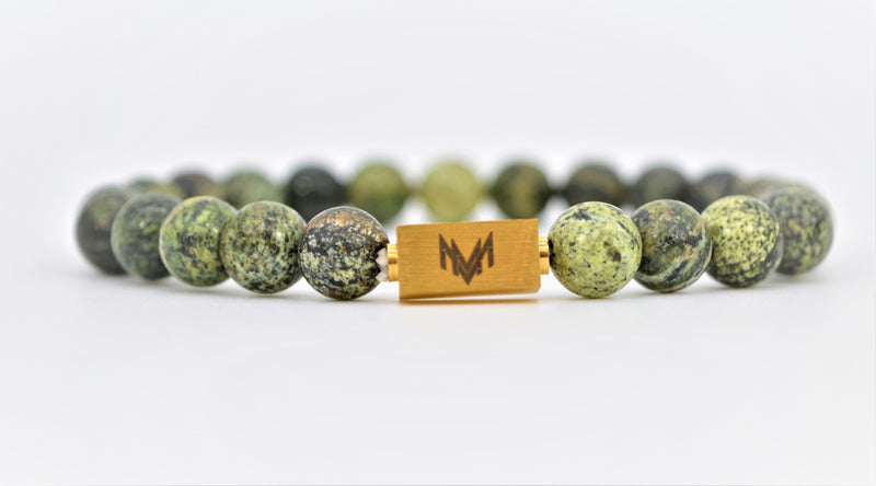 Green Map Stone Bracelet 8mm Medium Stone