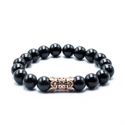 Crowned black onyx stone bracelet