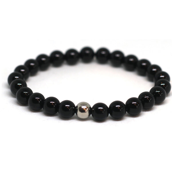 Black Onyx 6mm Stacker With Metal Bead
