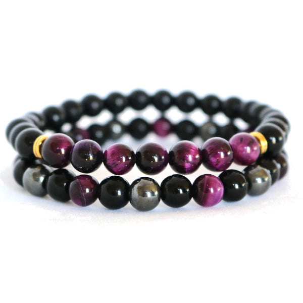Purple Tiger Eye, Black Onyx & Hematite Stone Bracelets