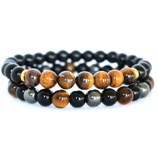 Brown Tiger Eye, Black Onyx & Hematite Stone Bracelets