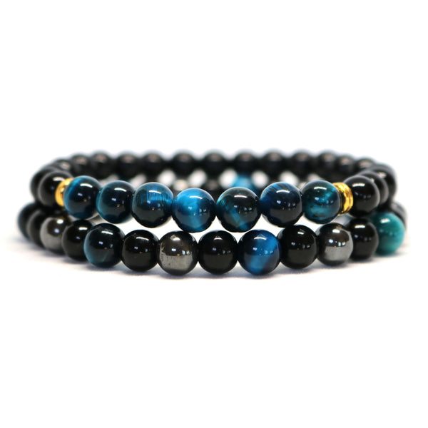 Blue Tiger Eye, Black Onyx & Hematite Stone Bracelets