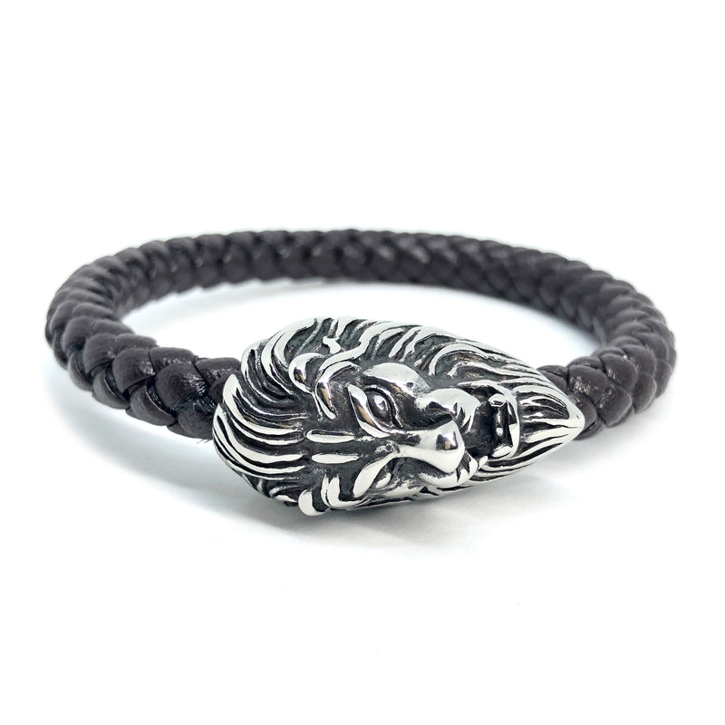 Lion Head In Black Leather Bracelet