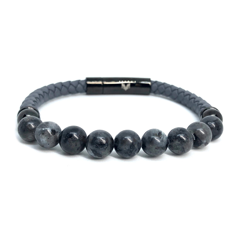 Mountain Gray Stone Bracelet - Leather