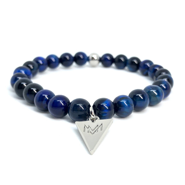 Midnight blue stone silver triangle