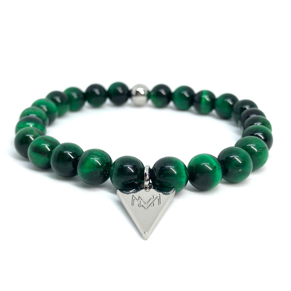 Forest green stone silver triangle