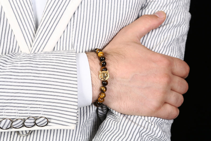 bracelet for men, moratti tiger bracelet, tiger bracelet collection, tiger head, tiger head bracelet, tiger stone bracelet