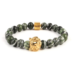 Tiger Head In Green Map Stone