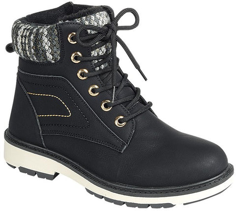 Fleece Lined High Top Timber Boots - Black