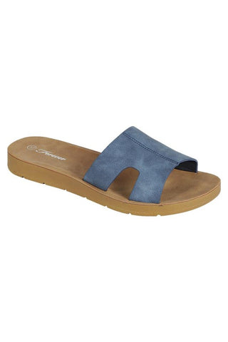 Peep Toe Slide Sandals - Navy