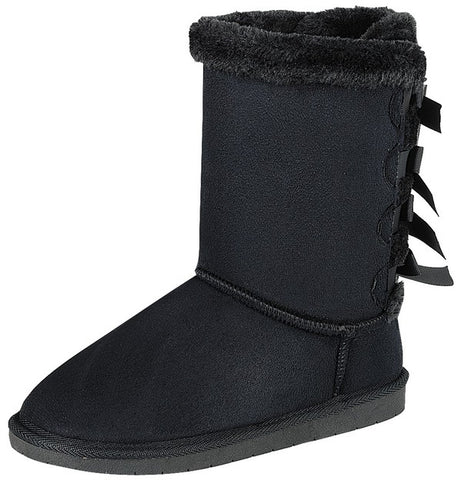 Furry Bow Back Winter Boots - Black