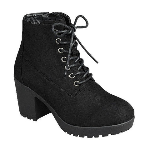 Suede Chunky Heel Ankle Booties - Black