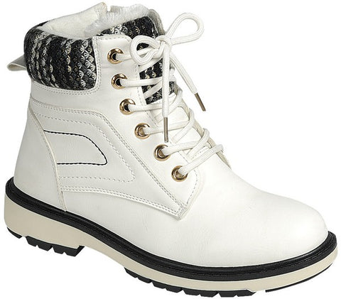 Fleece Lined High Top Timber Boots - White