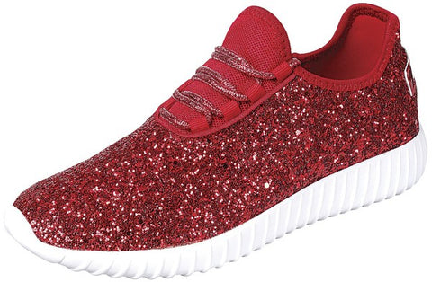 Glitter Comfort Tennies - Red