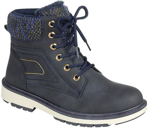 Fleece Lined High Top Timber Boots - Navy
